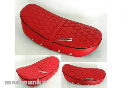 KEPSPEED DX LOW SEAT WITH DIAMOND PATTERN RED WITH BLACK PIPING
